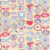 Tea Time Teacups Teapots Plates Beige Quilt Fabric