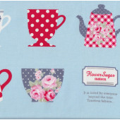 Teacups and Teapots on Blue Tea Flower Sugar Maison Fabric