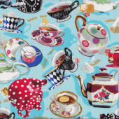 Teacups Teapots Herbal Oolong Chai Tea For Two Pots Cups Quilt Fabric