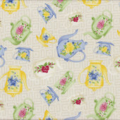 Floral Green Blue Yellow Tea Cups Teapots on Beige Tea For Two Quilt Fabric