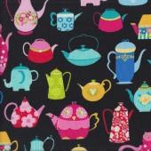 Funky Colourful Teapots Tea Pots on Black Quilt Fabric