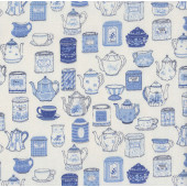 Blue Teapots Teacups Tea Time Collection on Cream Fabric