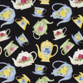 Floral Green Blue Yellow Tea Cups Teapots on Black Tea For Two Quilt Fabric