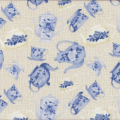 Floral Blue and Cream Tea Cups Teapots on Beige Tea For Two Quilt Fabric