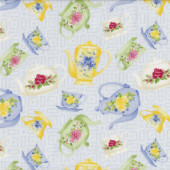 Floral Green Blue Yellow Tea Cups Teapots on Blue Tea For Two Quilt Fabric