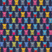 Teddy Bears on Navy Fabric