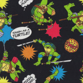 Teenage Mutant Ninja Turtles Pizza Please on Black Kids Licensed Quilt Fabric