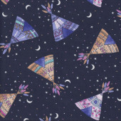 Teepees Fabric Remnant 42cm x 112cm