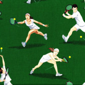 Tennis Players on Green Ladies Mens Sport Quilt Fabric