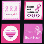 Breast Cancer Ribbon Hearts Think Pink Squares Quilt Fabric Panel