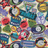 Thomas James Badges Fabric