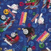 Thomas and Friends Train Tracks on Blue Boys Kids Kokka Fabric