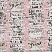 Teacups on Pink Tidings of Joy Quilting Fabric