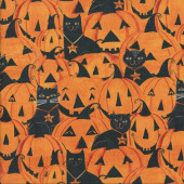 Black Cats Pumpkins Jack-o-Lanterns Halloween Quilting Fabric