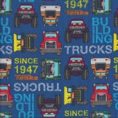 Tonka Toughs Trucks Big Rigs on Blue Boys Kids Licensed Quilting Fabric
