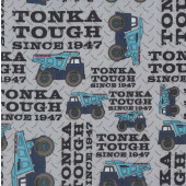 Tonka Dump Trucks on Grey Construction Boys Licensed Quilting Fabric