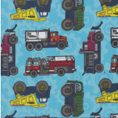 Tonka Dump Trucks Fire Engines on Blue Boys Kids Licensed Quilting Fabric