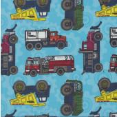 Tonka Dump Trucks Fire Engines on Blue Boys Kids Licensed Quilting Fabric