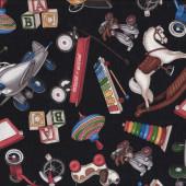 Retro Vintage Toys Rocking Horse Skates on Black Quilt Fabric