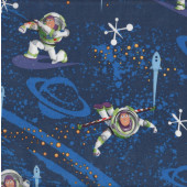 Buzz Lightyear on Blue Rockets Toy Story Boys Kids Quilting Fabric