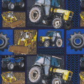 Tractors Bulldozers Wheels Construction Blue Quilting Fabric