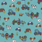 Farmer on Tractor on Green Sheep Cows Country Quilting Fabric