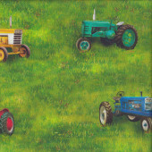 Tractors on Green Grass Down on the Farm Quilting Fabric