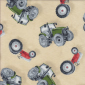 Tractors Beige Boys Quilting Fabric