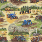 Tractors Hay Quilting Fabric