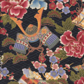 Japanese Flags with Flowers Metallic Gold on Black Asian Oriental Quilting Fabric
