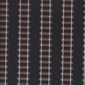Train Tracks on Black Boys Mens Quilting Fabric