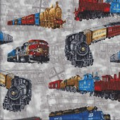 Steam Trains Carriages Quilting Fabric