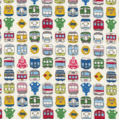 Trains Locomotive on Cream Mens Boys Quilt Fabric