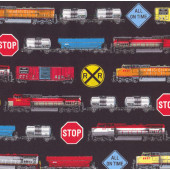 Freight Trains on Black Carriages Locomotive Boys Kids Sport Quilt Fabric