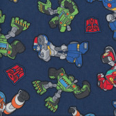 Transformers on Blue Quilting Fabric