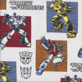 Transformers in Squares on White Optimus Prime Licensed Quilting Fabric