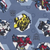 Transformers on Grey Blue Quilting Fabric