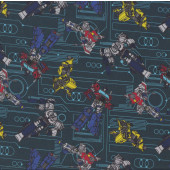Transformers on Green Optimus Prime Starscream Kids Licensed Quilting Fabric