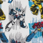 Transformers on White Bumblebee Optimus Quilting Fabric