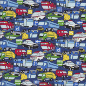 Cars Bus Police Car Taxi Fire Trucks Ambulance on Blue Boys Fabric