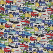 Cars Bus Police Car Taxi Fire Trucks Ambulance on Cream Boys Fabric