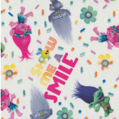 Trolls Show Me a Smile on White Poppy Girls Licensed Quilt Fabric
