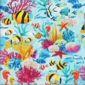 Fish Coral Seahorses Under the Sea Ocean Wildlife Quilting Fabric