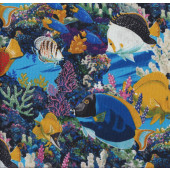 Tropical Fish Blue Quilting Fabric