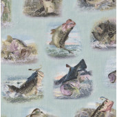 Fish Bass on Light Green Tight Lines Fishing Boys Quilting Fabric