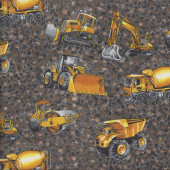 Construction Earthmoving Machinery Cement Truck Bulldozer Boys Quilting Fabric