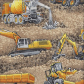 Construction Cement Truck Excavator Steam Roller Boys Quilting Fabric