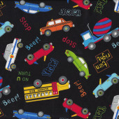 Police Cars Trucks School Bus Taxi on Black Boys Kids Quilt Fabric