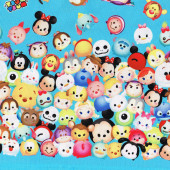Tsum Tsum Disney Mickey Dumbo Piglet on Blue Kids Licensed Fabric