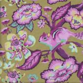 Tula Pink Squirrels Chipmunk Chipper Raspberry Quilting Fabric